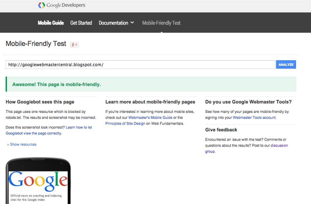 herramienta test google actualizacion seo