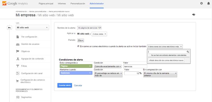 Descubre las alertas en Google Analytics