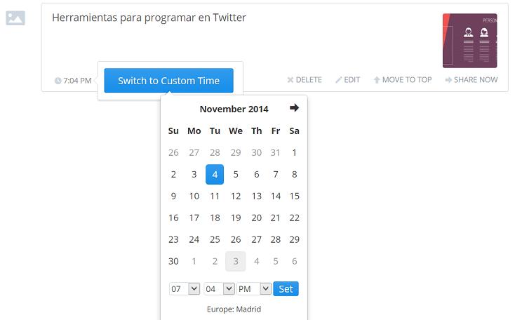 programar tuits con imagenes con buffer